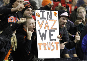 photo -   Oregon State fans hold a sign of support for quarterback Cody Vaz during the first half of the team's NCAA college football game against Utah in Corvallis, Ore., Saturday, Oct. 20, 2012.(AP Photo/Don Ryan)