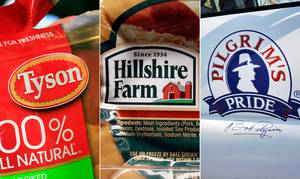 Photo - This combo made with file photos shows a package of frozen Tyson Chicken Nuggets, left, a package of Hillshire Farm sausage, center, and the Pilgrim's Pride logo on the side of a company vehicle. The board of Hillshire Brands has decided to hold separate talks with Pilgrim's Pride and Tyson Foods, as the two major meat processors engage in a bidding war for the maker of Jimmy Dean sausages and Ball Park hot dogs. (AP Photo/Paul Sakuma, LM Otero)