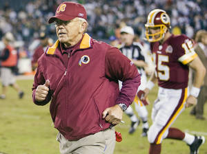 Photo - Former Redskins coach Joe Gibbs will be part of the broadcast team for NBC's NFL wild card playoff doubleheader Saturday. AP Photo