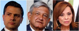 Photo -   In this combo of three file photographs, presidential candidates, from left, Enrique Pena Nieto, Manuel Lopez Obrador and Josefina Vazquez Mota attend different events in Mexico City in 2012. The three candidates are running for president in Mexico's July 1 elections. (AP Photo/Dario Lopez-Mills, Marco Ugarte, Alexandre Meneghini, Files)