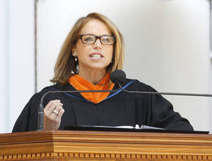 Photo -   Journalist and author Katie Couric speaks at the University of Virginia commencement exercises Sunday, May 20, 2012, in Charlottesville, Va. (AP Photo/The Daily Progress, Sabrina Schaeffer)