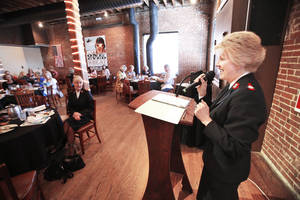photo - Salvation Army Maj. Francina Proctor  speaks on the fight against human trafficking in Oklahoma during the Fall OKC Happy Hour Women's Luncheon at the Bricktown Brewery in Oklahoma City, Wednesday November 07, 2012. Photo By Steve Gooch, The Oklahoman