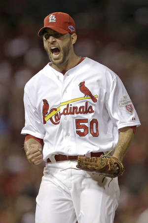 photo -   St. Louis Cardinals starting pitcher Adam Wainwright reacts after getting San Francisco Giants' Pablo Sandoval to ground out and end the sixth inning of Game 4 of baseball's National League championship series Thursday, Oct. 18, 2012, in St. Louis. (AP Photo/David J. Phillip)