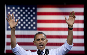 photo -   President Barack Obama speaks at a campaign event at George Mason University, Friday, Oct. 5, 2012, in Fairfax, Va. (AP Photo/Carolyn Kaster)
