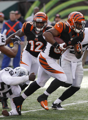 Photo - Cincinnati Bengals running back Cedric Peerman (30) runs past Oakland Raiders middle linebacker Rolando McClain (55) in the first half of an NFL football game, Sunday, Nov. 25, 2012, in Cincinnati. (AP Photo/Tom Uhlman)