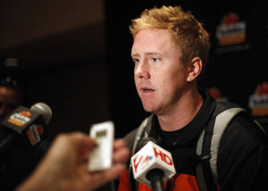 Photo - OKLAHOMA STATE UNIVERSITY / OSU / COLLEGE FOOTBALL: Oklahoma State's Brandon Weeden talks to the media during an Oklahoma State press conference for the Fiesta Bowl at the Camelback Inn in Paradise Valley, Ariz.,  Thursday, Dec. 29, 2011. Photo by Sarah Phipps, The Oklahoman