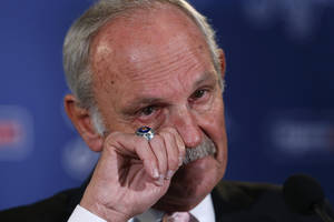 Photo - Detroit Tigers baseball manager Jim Leyland announces he is stepping down as manager during a news conference at Comerica Park in Detroit, Monday, Oct. 21, 2013. (AP Photo/Paul Sancya)