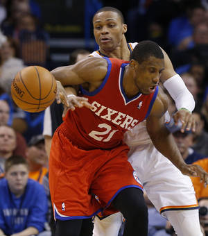 Photo -  The Thunder's Russell Westbrook knocks the ball away from Philadelphia's Thaddeus Young. Over the past seven games, Oklahoma City has allowed 109.2 points per game. Photo by Bryan Terry, The Oklahoman  <strong>BRYAN TERRY -  THE OKLAHOMAN </strong>