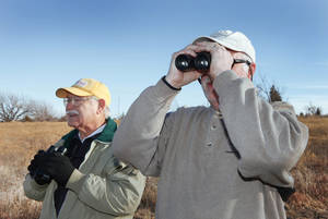 Photo - Dr. Hal Yocum and Jeff Hall bird  watching at Mitch Park in Edmond, Tuesday, December 4, 2012.  Photo By David McDaniel/The Oklahoman