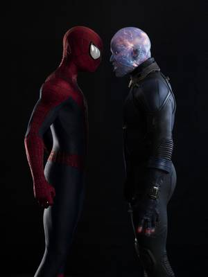 "Photo -  Andrew Garfield, left, stars as Spider-Man, and Jamie Foxx is Electro in ""The Amazing Spider-Man 2."" Photo Provided  <strong></strong>"