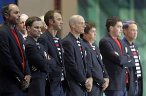 photo - USA players arrive at the closing ceremony of the Ryder Cup PGA golf tournament Sunday, Sept. 30, 2012, at the Medinah Country Club in Medinah, Ill. (AP Photo/Chris Carlson)  ORG XMIT: PGA246