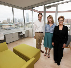Photo - Homeowners Lee Peoples and Emma Rolls and architect Randy Floyd are shown in the upstairs office at 824 NW 7, a home that Floyd designed.  PHOTO BY NATE BILLINGS, The Oklahoman