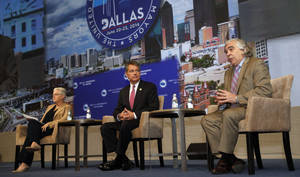 "Photo - Ernest Moniz, right, secretary, United States Deptartment of Energy, discusses climate protection with Gina McCarthy, ledt,  United States Environmental Protection Agency, and David Agnew at the U.S. Conference of Mayors at the Omni Hotel in Dallas,  on June 22, 2014. Attendees of the U.S. Conference of Mayors voted Sunday to sign the U.S. Mayors Climate Protection Agreement in Dallas, on Sunday, June 22, 2014. The resolution encourages cities to use natural solutions to ""protect freshwater supplies, defend the nation's coastlines, maintain a healthy tree cover and protect air quality,"" sometimes by partnering with nonprofit organizations. The resolution only ""encourages"" steps rather than mandating action. (AP Photo/The Dallas Morning News, Michael Ainsworth) MANDATORY CREDIT; MAGS OUT; TV OUT; INTERNET USE BY AP MEMBERS ONLY; NO SALES"