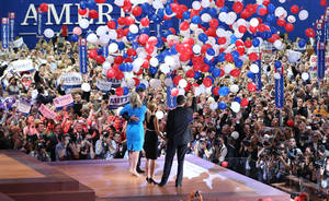 Photo -   Republican presidential candidate Mitt Romney and vice presidential candidate Paul Ryan are on stage with their wives Ann Romney and Janna Ryan at the end of the Republican National Convention in Tampa, Fla., on Thursday, Aug. 30, 2012. (AP Photo/Jae C. Hong)