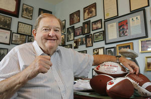 photo - Bob Barry Sr, in his memorabilia room at his home in Norman, Monday, August, 18, 2008. The room was Bob Barry Jr.'s bedroom. Photo by David McDaniel, The Oklahoman