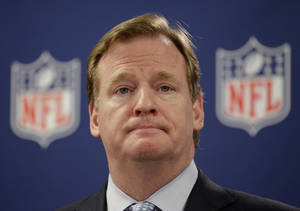photo -   NFL Commissioner Roger Goodell speaks at a press conference following an owners meeting Tuesday, May 22, 2012, in Atlanta. (AP Photo/David Goldman)