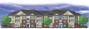 photo - The drawing by Tulsa-based Parker Associates Architects shows what will be a typical front elevation of buildings at Liberty Pointe Apartments.  DRAWING PROVIDED BY GARDNER TANENBAUM HOLDINGS
