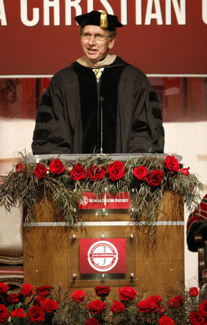 photo - Don Millican, Chairman, Board of Trustees welcomes guest to the inauguration of John deSteiguer as the new President of Oklahoma Christian University in Oklahoma City , Monday August 27, 2012. Photo By Steve Gooch, The Oklahoman
