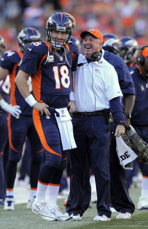 photo - FILE - In this Nov. 17, 2012, file photo, Denver Broncos quarterback Peyton Manning (18) looks on as head coach John Fox celebrates during an NFL football game between the Denver Broncos and the San Diego Chargers in Denver. The Broncos have reeled off nine consecutive wins after a 2-3 start. (AP Photo/Jack Dempsey, File)