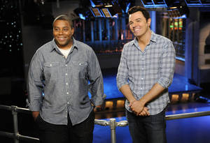"Photo -   This Sept. 11, 2012 photo provided by NBC shows Kenan Thompson, left, and host Seth MacFarlane on the set of ""Saturday Night Live"" in New York. MacFarlane is hosting SNL's season premiere on Saturday, Sept. 15, with musical guest Frank Ocean. (AP Photo/NBC, Dana Edelson)"