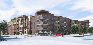 photo - The southeast corner of The Edge apartments along Walker Avenue is shown in this drawing. Drawing provided