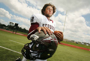 photo - Quarterback Brayden Scott, taken in Tulsa, Okla., on June 19, 2012, Scott is rated one of the top quarterbacks in Oklahoma, if not the nation and has offers from a wide range of schools for his passing abilities. JAMES GIBBARD/Tulsa World