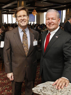 photo - Oklahoma County District Attorney David Prater, right, stands with his predecessor, Wes Lane, at the Petroleum Club in Oklahoma City.  Photo by Paul B. Southerland, The Oklahoman