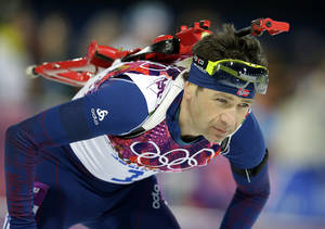 Photo - Norway's Ole Einar Bjoerndalen approaches the shooting range during the men's biathlon 12.5k pursuit, at the 2014 Winter Olympics, Monday, Feb. 10, 2014, in Krasnaya Polyana, Russia. (AP Photo/Lee Jin-man)