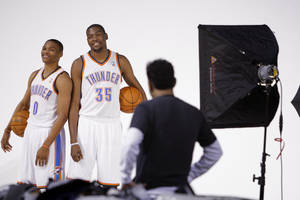 photo - NBA BASKETBALL: Oklahoma City's Russell Westbrook, and Kevin Durant pose for team photos during media day for the Oklahoma City Thunder at Chesapeake Energy Arena in Oklahoma CIty, Tuesday, Dec. 13, 2011. Photo by Bryan Terry, The Oklahoman