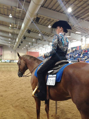 Photo -  Bailey Forester, a freshman at Northeastern Oklahoma A&M College, attended the national competition for the Intercollegiate Horse Show Association, held in Harrisburg, Pa. PHOTO PROVIDED  <strong>PROVIDED</strong>