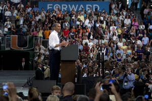 Photo -   President Barack Obama speaks at a campaign event at the University of Miami, Thursday, Oct. 11, 2012, in Coral Gables, Fla. (AP Photo/Carolyn Kaster)