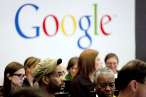 "Photo - FILE - In this Wednesday, Oct. 17, 2012, file photo, people attend a workshop, ""New York Get Your Business Online,"" at Google offices in New York. Google Inc. reports quarterly earnings on Thursday, Jan. 30, 2014.  (AP Photo/Mark Lennihan, File)"