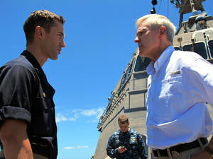 "Photo - Navy Secretary Ray Mabus, right, speaks to the USS Independence's captain, Cmdr. Joseph Gagliano, on board the ship in waters off Honolulu on Thursday, July 24, 2014. Mabus says operating costs for the service's newest ships, littoral combat ships like the Independence, will decline and ""become more normal"" over time. (AP Photo)"