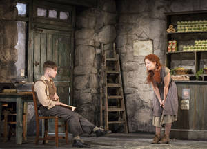 This image released by Boneau/Bryan-Brown shows Daniel Radcliffe, left, and Sarah Green performing in The Cripple of Inishmaan, opening April 20 at the Cort Theatre in New York. (AP Photo/Boneau/Bryan-Brown, Johan Persson)