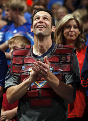 """Photo -  Thunder fan Derrick Seys, who is known as """"Brick Man,"""" drove in from the Quad Cities for Saturday night's game. Photo by Steve Sisney, The Oklahoman Archives  <strong>STEVE SISNEY -  THE OKLAHOMAN </strong>"""