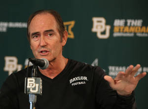 Photo - Baylor head football coach Art Briles talks with the media during a press conference, Monday, Aug. 25, 2014, in Waco, Texas. Baylor will face SMU Sunday during their season opener at their new McLane stadium. (AP Photo/Waco Tribune Herald, Rod Aydelotte)