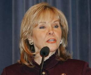 photo - Congresswoman  Mary  Fallin speaks at the ISO 9001:2000 Celebration at the Federal Aviation Administration Mike Monroney Aeronautical Center, Monday , April 6, 2009. Photo By David McDaniel