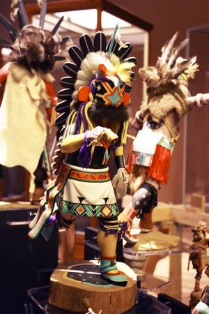 "Photo - A kachina doll is on display in the ""Dolls, Dancers and Deities"" exhibit at the Sam Noble Oklahoma Museum of Natural History.  PHOTOS PROVIDED BY  THE SAM NOBLE OKLAHOMA MUSEUM OF NATURAL HISTORY"