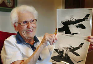 Photo - Rita Eaves, 93,  shares memories of her life and her 65-year marriage to late husband, Leonard Evans, who died in March, 2012 at age 92, when the small homebuilt plane he was piloting crashed near Yukon. <strong>Jim Beckel - THE OKLAHOMAN</strong>