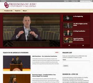 photo - The University of Oklahoma is set to launch a new website, freedom.ou.edu, on Tuesday. A screenshot of a portion of the sites home page is shown above. PHOTO PROVIDED
