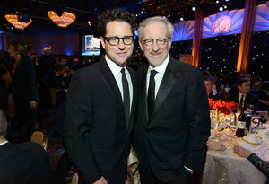 photo - IMAGE DISTRIBUTED FOR THE PRODUCERS GUILD - J.J. Abrams, left, and Steven Spielberg pose in the audience at the 24th Annual Producers Guild (PGA) Awards at the Beverly Hilton Hotel on Saturday Jan. 26, 2013, in Beverly Hills, Calif. (Photo by Jordan Strauss/Invision for Producers Guild/AP Images)