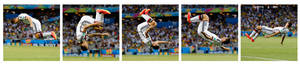 Photo - This combination of photos shows Germany's Miroslav Klose flipping to celebrate after scoring his side's second goal during the group G World Cup soccer match between Germany and Ghana at the Arena Castelao in Fortaleza, Brazil, Saturday, June 21, 2014. (AP Photo/Frank Augstein)