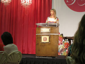 "Photo - Missy Robertson, one of the stars of the popular A&E reality TV series ""Duck Dynasty,"" gives a presentation at the ""She Speaks"" women's event on Monday (Oct. 7) at Oklahoma Christian University, 2501 E Memorial Road. <strong>Carla Hinton - The Oklahoman</strong>"