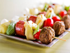 Photo - Antipasto Meatball Skewers from the Made in Oklahoma Coalition. <strong> - PROVIDED</strong>