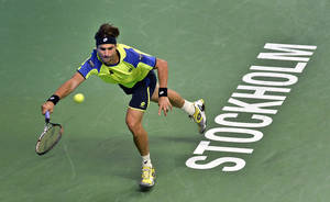 Photo - Spain's David Ferrer in action against Latvias Ernest Gulbis during their semi final tennis match in the ATP Stockholm Open tournament, Sweden, Saturday, Oct. 19, 2013. (AP photo/Anders Wiklund, TT News Agency)    SWEDEN OUT