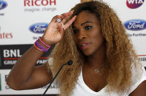 Photo - Serena Williams, of the United States, attends a press conference ahead of her participation to the Italian open tennis tournament, in Rome, Monday, May 12, 2014. (AP Photo/Riccardo De Luca)