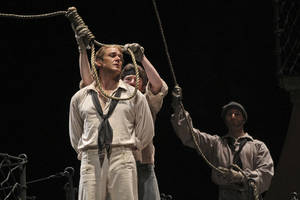 "Photo -   In this Wednesday, May 2, 2012 photo, Nathan Gunn performs the title roll during the final dress rehearsal of Benjamin Britten's ""Billy Budd"" at the Metropolitan Opera in New York. (AP Photo/Mary Altaffer)"