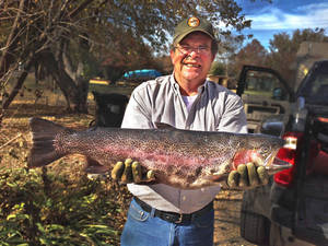 Photo - Mark Reed of Bridge Creek hooked a state record rainbow trout at Lake Watonga. <strong>Photo provided</strong>