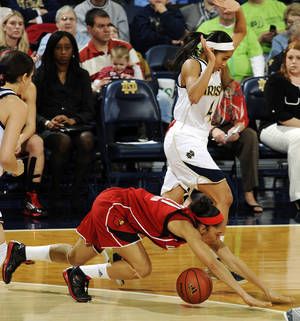Photo - Louisville guard Bria Smith, bottom, is tripped up by Notre Dame guard Skylar Diggins in the first half of an NCAA college basketball game, Monday, Feb. 11, 2013, in South Bend, Ind. (AP Photo/Joe Raymond)