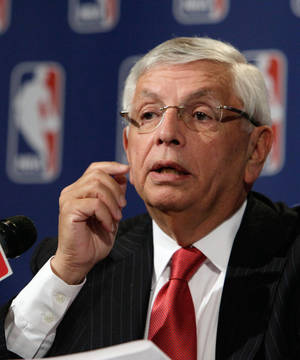 Photo -   NBA Commissioner David Stern answers a question at a news conference after the NBA Board of Governors meetings, in New York, Friday, April 13, 2012. Tom Benson brought stability to the Saints nearly three decades ago and now plans to do the same for the Hornets in small-market New Orleans. The Saints' owner agreed Friday to purchase the Hornets from the NBA. (AP Photo/Richard Drew)